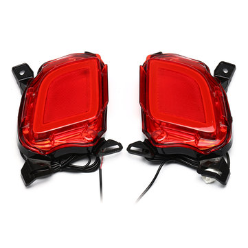 2Pcs Red LED Car Rear Bumper Reflector Brake Lights Fog Lamp for Toyota Highlander 2015