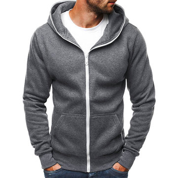 Men's Casual Zipper Fly Hoodies Drawstring Sweatshirts
