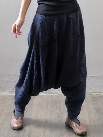 Casual Loose Elastic Waist Pure Color Women Harem Pants