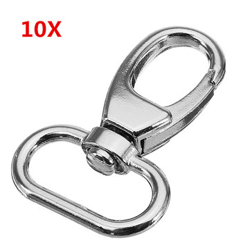 10Pcs 39mm Silver Zinc Alloy Oval Swivel Spring Snap Hook Trigger Clip with 19mm Oval Ring