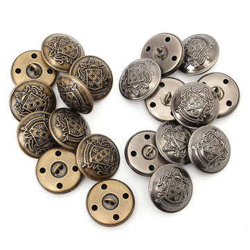 10pcs 25mm Vintage Round Metal Buttons Craft Scrapbooking Sewing Suit Shirt Button