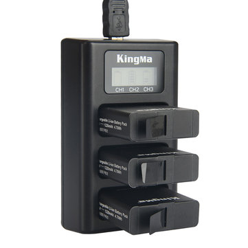 KingMa BM043 USB 3 Channel Battery Three Way Charger for Gopro Hero 6 / Hero 5 Action Camera