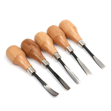 5 PCS Wood Carving Working Tool Carving Chisels Set DIY Tools For Lathe Wood Cut Working