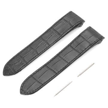 23mm Black Soft  Leather Watch Band For Cartier Santos 100XL With Buckle Pins