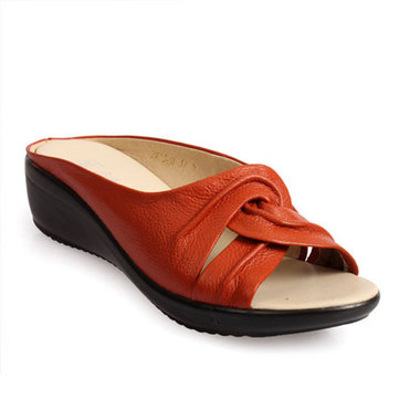 Leather Casual Wedge Slipp