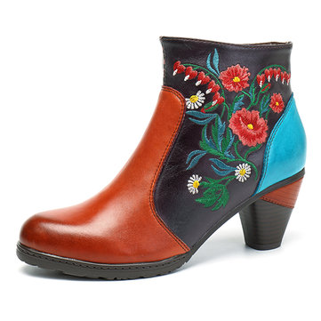 SOCOFY Women Retro Splicing Handmade Embroidery Ankle Leather Boots