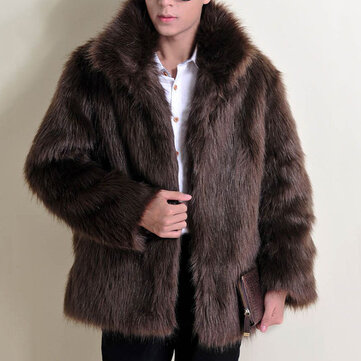 Mens Winter Stylish Faux Fur Coat Thick Warm Solid Color Casual Jacket
