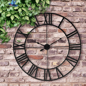 60/80/100cm Large Outdoor Garden Wall Clock Roman Numerals Giant Open Face Metal