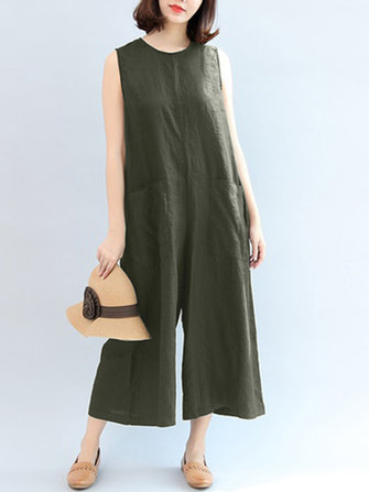 Women Sleeveless Casual Loose Overalls Wide Leg Jumpsuit