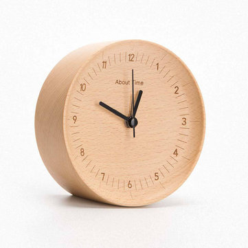 Original Xiaomi Mute Logs Wooden Alarm Clock About Time Quality Fashionable Table Clock with Metal Pointer
