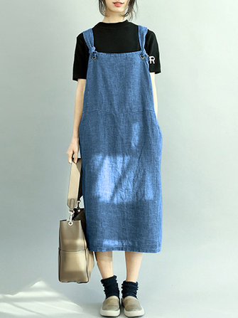 Women Sleeveless Strappy Pocket Solid Color Denim Dress
