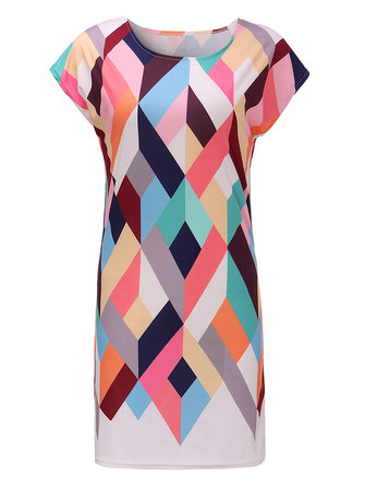 Casual 3D Geometric Printed Stretch Bodcyon Dress For Women