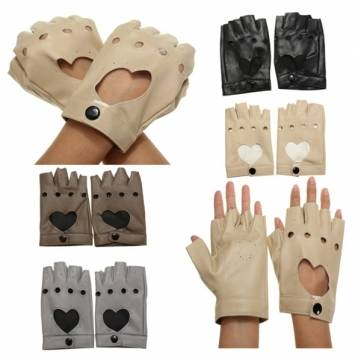 Women Driving Fingerless Mittens Dance Sports Motorcycle PU Leather Gloves