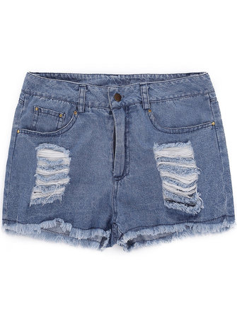 Vintage Women Ripped Zipper High Waist Denim Shorts Jeans