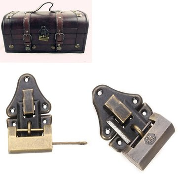 Archaize with Iron Padlock Hasp Jewelry Box Padlock Ancient Antique Lock