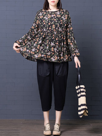 Women Retro Floral Print O-neck Long Sleeved Pleated Blouse