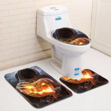 3Pcs Halloween Pumpkin Lantern Bathroom Mat Flannel Carpet Toilet Lid Bathroom Mat