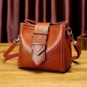 Women Leisure Solid Shoulder Bag Oil Wax Faux Leather Crossbody Bag