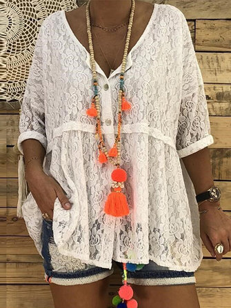 Women Lace Crochet Buttons Loose Baggy Blouse