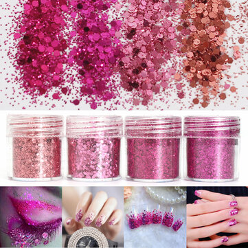 Super Shining Mixed Glitter Powder Sequins Nail Decoration Dust Rose Red Mermaid Effect Manicure Orn