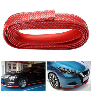 5cmX250cm Carbon Fiber Car Front Bumper Lip Splitter Body Kit Spoiler Rubber Protector Red