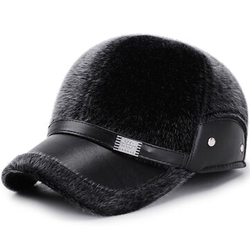 Men Winter Artificial Mane Earmuffs Baseball Cap Middle-Aged Windproof Grandfather Peaked Hat