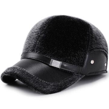 Men Winter Artificial Mane Earmuffs Baseball Cap Peaked Hat