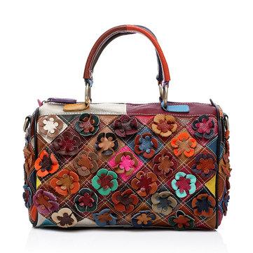 Women Patchwork Cowhide Casual Flower Handbag