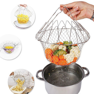 Honana HN-KH03 Foldable Steam Rinse Strain Fry French Chef Basket Magic Basket Mesh Basket Strainer Net Kitchen Cooking Tool