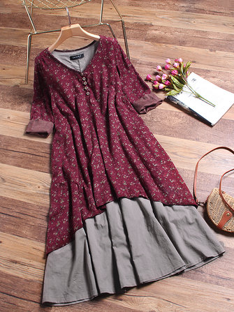 M-5XL Floral Printed Layered Long Sleeve Vintage Dress