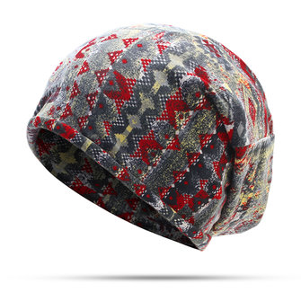 Women Flowers Printted Beanie Hat Outdoor Dual Use Cashmere Windproof Cap Scarf