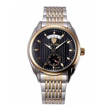 TEVISE 기계식 시계 패션 비즈니스 남성 손목 시계 날짜 표시 세로 줄무늬 다이얼 시계