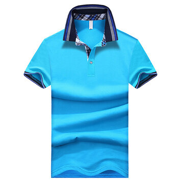 S-3XL Summer Mens Lapel Short Sleeved Polo T-shirts Slim Solid Color T-shirt Plaid Collar Tees