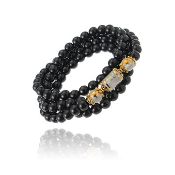 Unisex Artificial Crystal Obsidian Bracelet 108 Buddha Beads Zodiac Lucky Necklace