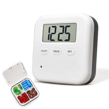 Loskii CR-210 Electronic Timing Medication Organizer Mini Portable Daily Vitamin Pills Case with Digital Screen Alarm Clock Reminder for Travel Trip Working Outdoor