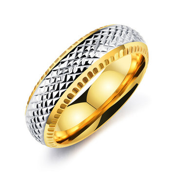 Punk Gold Color Stainless Steel Finger Ring Hip Hop Black Geometry Ring for Men