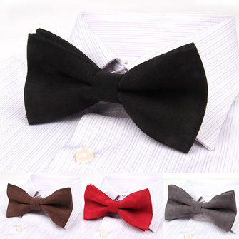 Men Solid Double Layer Bowknot Formal Suit Corduroy Business Bow Tie