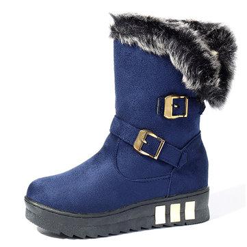 Women Winter Buckle Fur Lining Flat Mid Calf Snow Boots