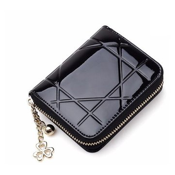 Women Patent Leather Quilted Short Wallet Girls Cute Candy Color Zipper Purse Card Holder Coin Bags