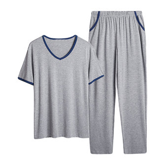 Summer Modal Soft Comfy Homewear Suits V Neck Short Sleeve Sleepwear Pajamas