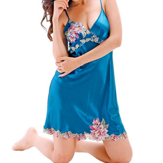 Women Plus Size S-XXL Silk Straps Embroidery Lingerie Sleepwear
