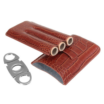 Brown Leather Crocodile Pattern Travel Cigar Case 3 Tube With Cigarette Cutter Set