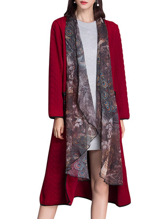 Chiffon Stitching Fake Two Piece Long Sleeve Women Coat