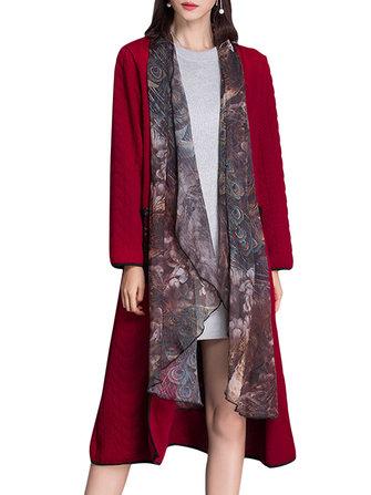 Chiffon Stitching Fake Two Piece Long Sleeve Women Coat