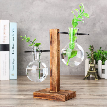 Vintage Clear Glass Bottle Vase Hanging Flower Pot Wooden Frame Stand Terrarium Container Garden