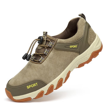 AP-905 Nubuck Outdoor Hiking Climbing Shoes Lace No Tie For Men Sneakers Anti-slip Wearproof Leisure Shoes For Youth