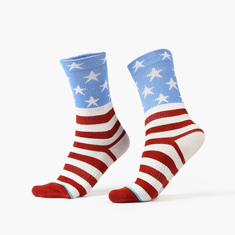 Men Stripes Stars Cotton Sports Socks Breathable Colorful Middle Tube Socks