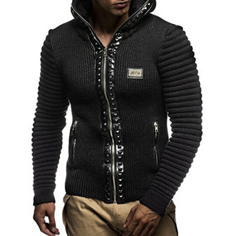 Men's Zipper Hooded Knit Zipper Fly Slim Fit Sweaters