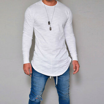 Mens Elastic Cotton Long Sleeve T-Shirt Solid Color Slim Long Basic Tees