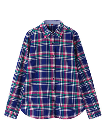 Casual Women Lapel Single-breasted Long-sleeved Plaid Cotton Shirts